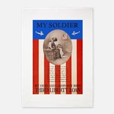 War Bonds WWI My Soldier Liberty Lo 5'x7'Area Rug