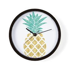 Golden Pineapple Wall Clock