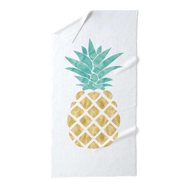 Golden Pineapple Beach Towel By Mcornwallshop