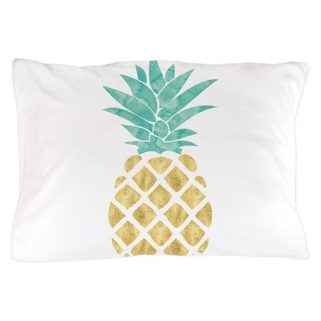 Golden Pineapple Pillow Case By Mcornwallshop