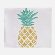 Golden Pineapple Throw Blanket