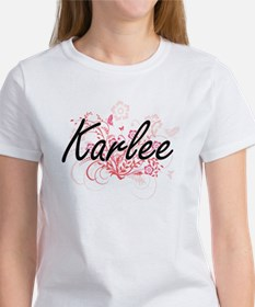 Karlee Artistic Name Design with Flowers T-Shirt