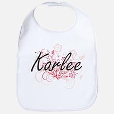 Karlee Artistic Name Design with Flowers Bib