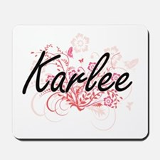 Karlee Artistic Name Design with Flowers Mousepad