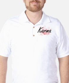 Karma Artistic Name Design with Flowers T-Shirt