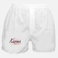 Karma Artistic Name Design with Flowe Boxer Shorts
