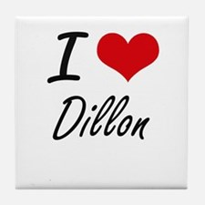I Love Dillon artistic design Tile Coaster