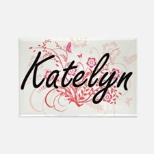 Katelyn Artistic Name Design with Flowers Magnets