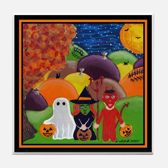 Halloween Tricksters & Treaters Tile Coaster