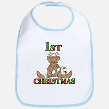 Bear 1st Christmas Bib