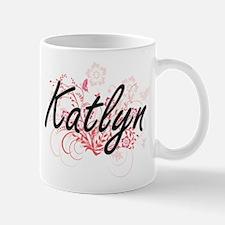 Katlyn Artistic Name Design with Flowers Mugs