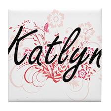Katlyn Artistic Name Design with Flow Tile Coaster