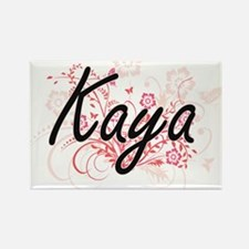 Kaya Artistic Name Design with Flowers Magnets