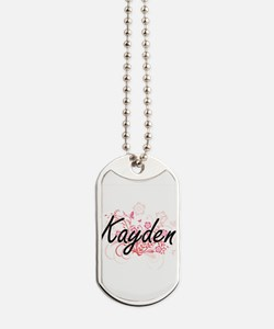 Kayden Artistic Name Design with Flowers Dog Tags