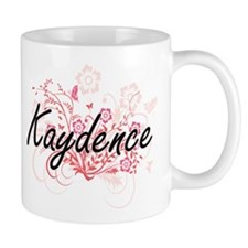 Kaydence Artistic Name Design with Flowers Mugs