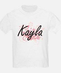Kayla Artistic Name Design with Flowers T-Shirt
