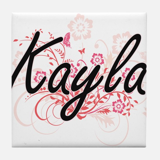 Kayla Artistic Name Design with Flowe Tile Coaster