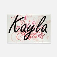 Kayla Artistic Name Design with Flowers Magnets
