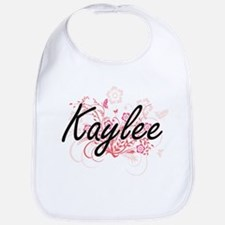 Kaylee Artistic Name Design with Flowers Bib