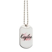 Kaylee Artistic Name Design with Flowers Dog Tags