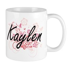 Kaylen Artistic Name Design with Flowers Mugs