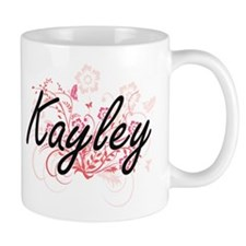 Kayley Artistic Name Design with Flowers Mugs