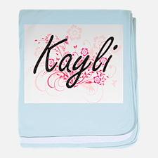 Kayli Artistic Name Design with Flowe baby blanket