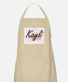Kayli Artistic Name Design with Flowers Apron