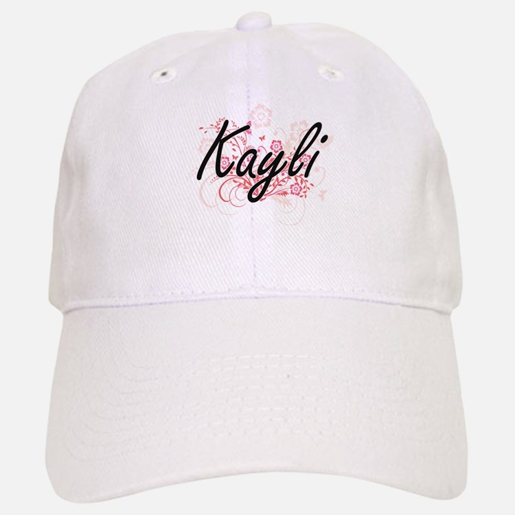 Kayli Artistic Name Design with Flowers Baseball Baseball Cap