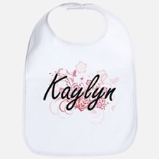Kaylyn Artistic Name Design with Flowers Bib