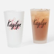 Kaylyn Artistic Name Design with Fl Drinking Glass