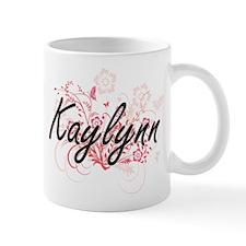 Kaylynn Artistic Name Design with Flowers Mugs
