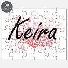 Keira Artistic Name Design with Flowers Puzzle