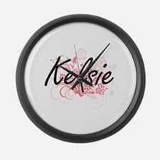 Kelsie Artistic Name Design with Large Wall Clock