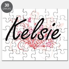 Kelsie Artistic Name Design with Flowers Puzzle