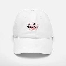 Kelsie Artistic Name Design with Flowers Baseball Baseball Cap