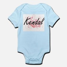 Kendal Artistic Name Design with Flowers Body Suit