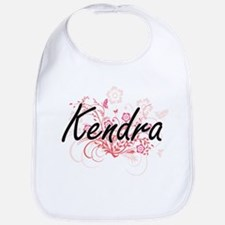 Kendra Artistic Name Design with Flowers Bib