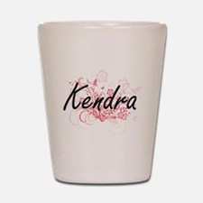 Kendra Artistic Name Design with Flower Shot Glass