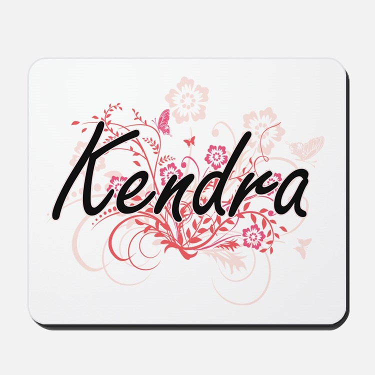 Kendra Artistic Name Design with Flowers Mousepad