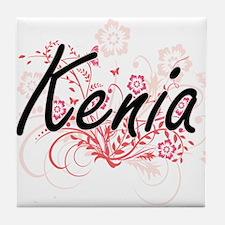 Kenia Artistic Name Design with Flowe Tile Coaster