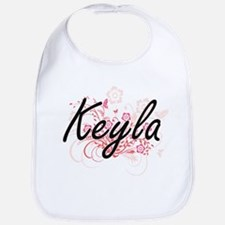 Keyla Artistic Name Design with Flowers Bib