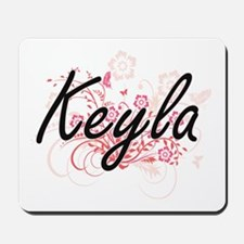 Keyla Artistic Name Design with Flowers Mousepad