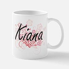 Kiana Artistic Name Design with Flowers Mugs