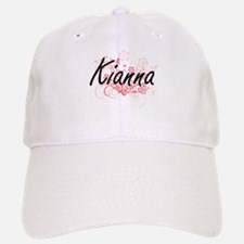 Kianna Artistic Name Design with Flowers Baseball Baseball Cap