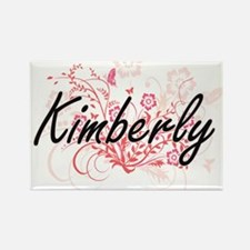 Kimberly Artistic Name Design with Flowers Magnets
