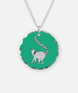 Lemur on Green Necklace