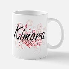 Kimora Artistic Name Design with Flowers Mugs