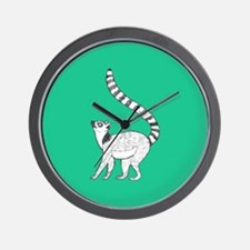 Lemur on Green Wall Clock