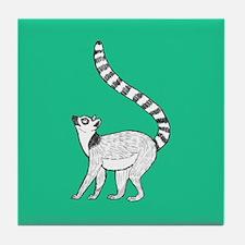 Lemur on Green Tile Coaster